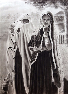 Charcoal figurative drawing of two beautiful women by Manju Panchal
