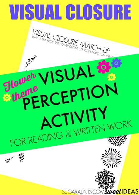 Visual closure flower themed visual perception activity