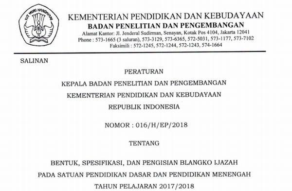 Perka Balitbang No 016/H/EP/2018 tentang Bentuk, Spesifikasi, Pengisian Blanko Ijazah SD SMP SMA SMK