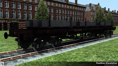 Fastline SImulation: A load of steel blooms are seen loaded on a BDA from the latter ones built to design code BD006C in weathered freight brown livery.