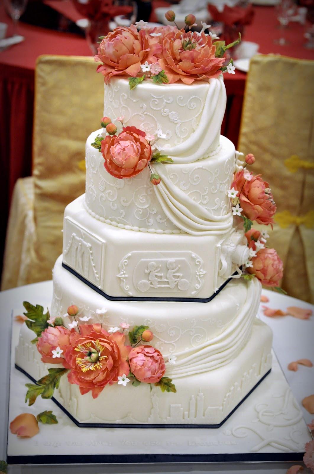 Nyc Skyline Amp Peonies Wedding Cake Kāke