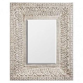 Espejo Grande Resina Blanco Decape Mosas