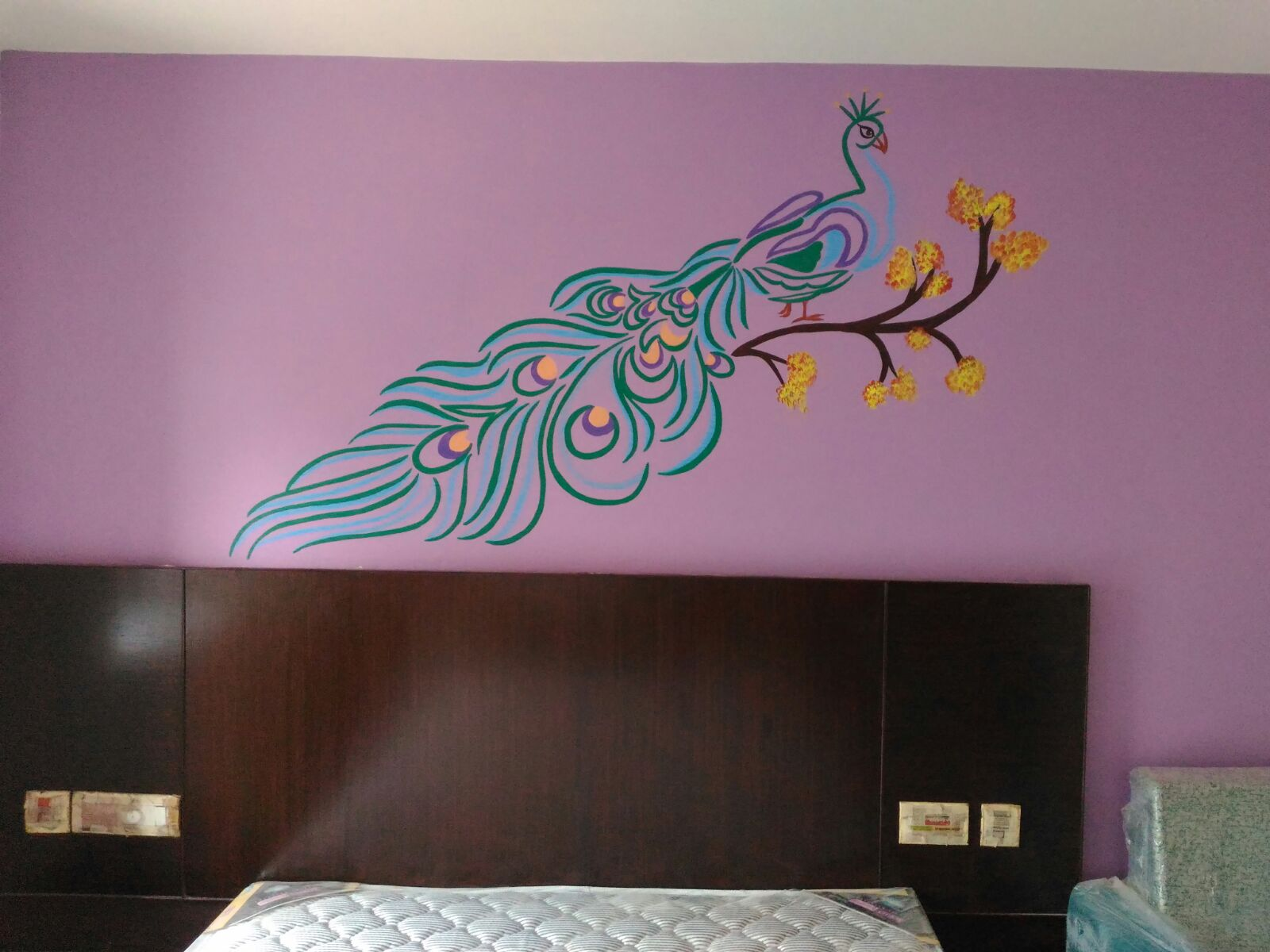 Hand Painted Peacock Wall Painting