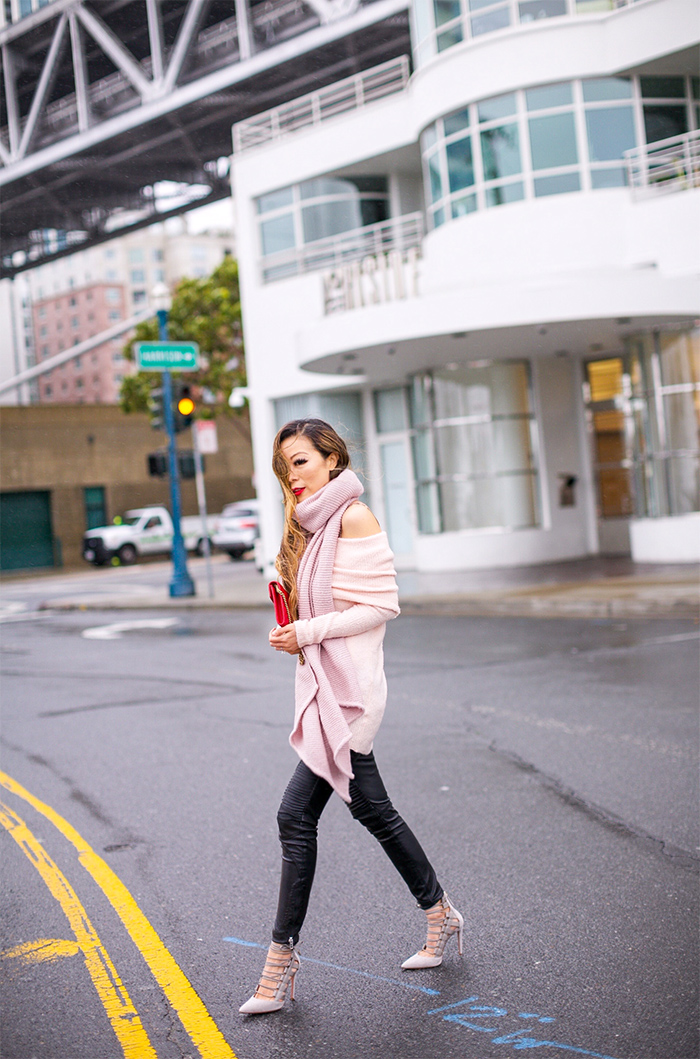 Trouve off the shoulder tunic, pink off shoulder sweater, rebecca minkoff asymmetric scarf, blank nyc moto pants, aquazzura amazon pumps, lace up pumps, gucci marmont wallet on the chain, san francisco style blog, san francisco street style, winter outfit ideas, happy MLK day