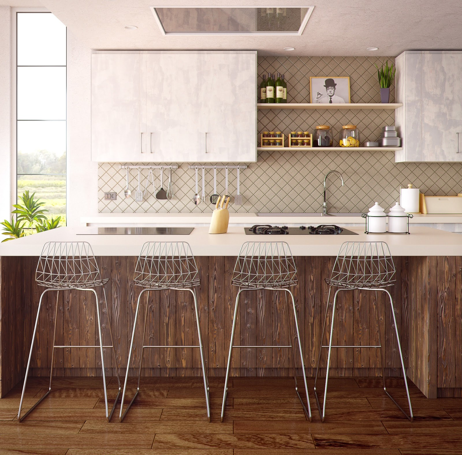Four Gray Bar Stools in Front of Kitchen Countertop