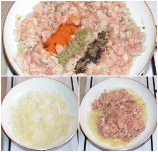 carne tocata de porc cu ceapa la tigaie, preparare umplutura placinta, retete culinare, retete cu porc, preparate din porc,