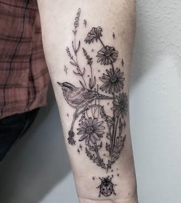 full forearms Traditional Ladybug Tattoo