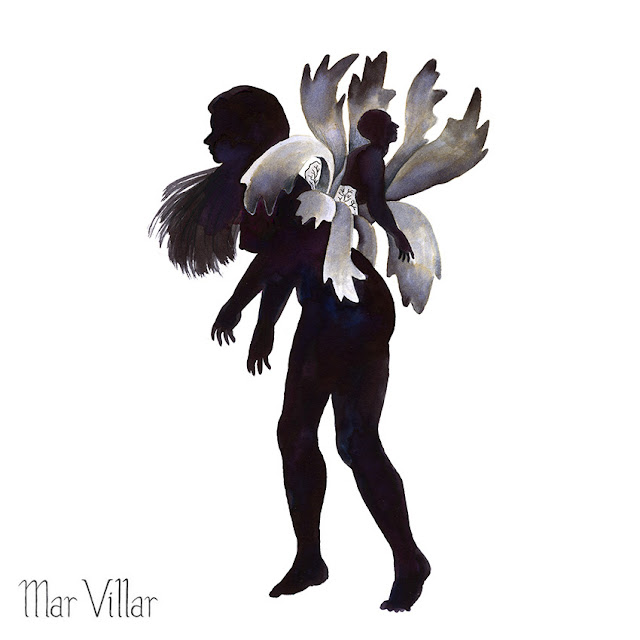 Inktober, Inktober 2016, plantas, cuerno de alce, ilustración a tinta, silueta humana, tinta, aguada de tinta, quink, tinta parker