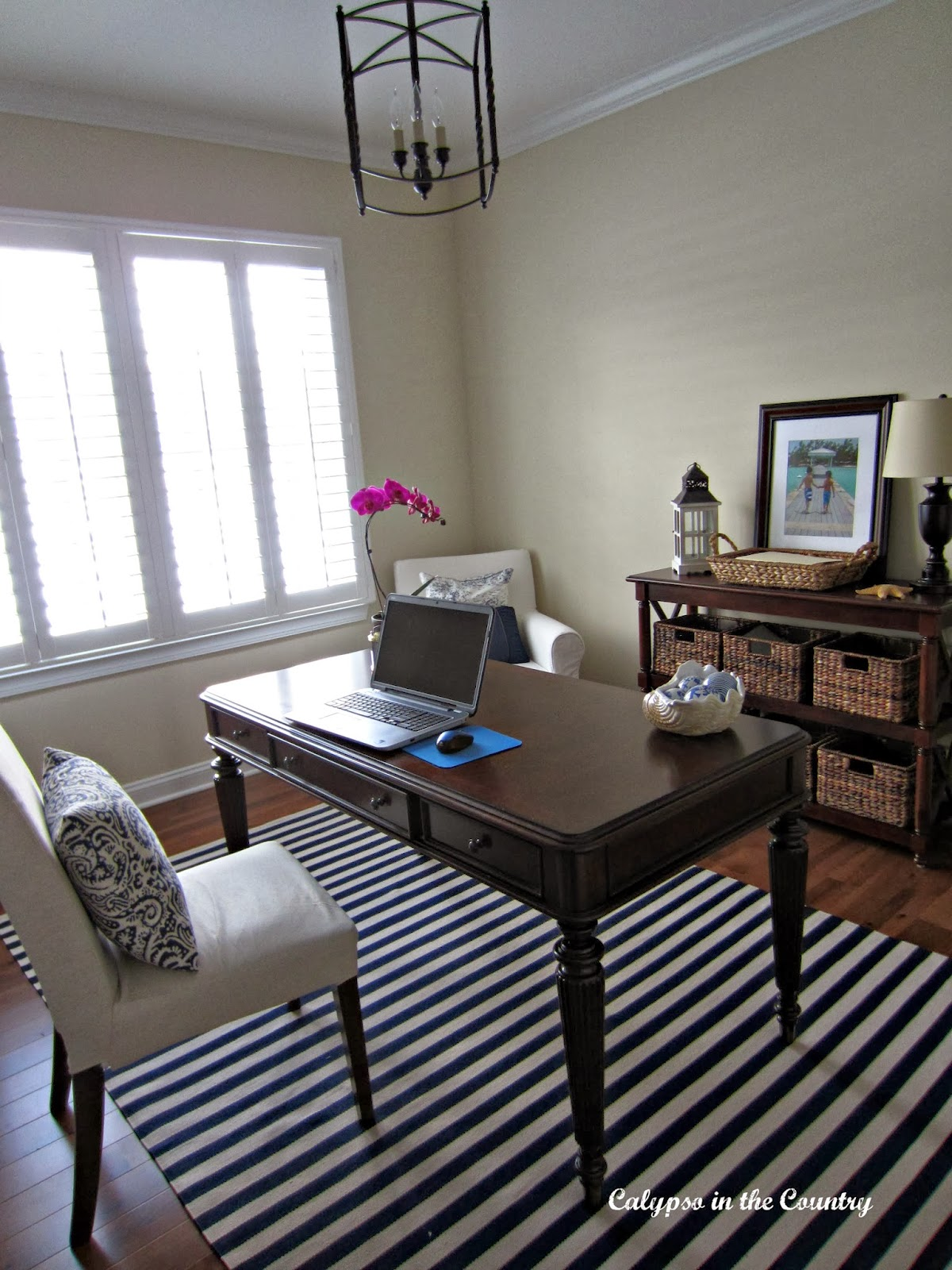 Blue and White Home Office - Deciding between Blogger and WordPress - share your thoughts and see what others had to say!