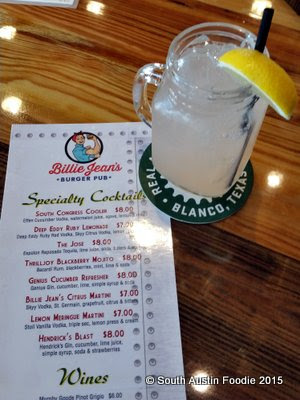 Billie Jean's Burger Pub  hard lemonade