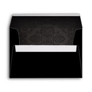 Halloween Black Wedding Envelope with Black Roses