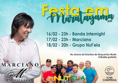 FESTA EM MARATAYAMA CONTARÁ COM SHOWS DA BANDA INTERNIGHT, MARCIANO E GRUPO NUT´ELA