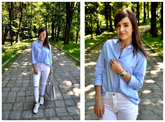Blue shirt with frill