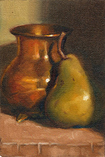 Oil painting of a small copper vase beside a green pear.
