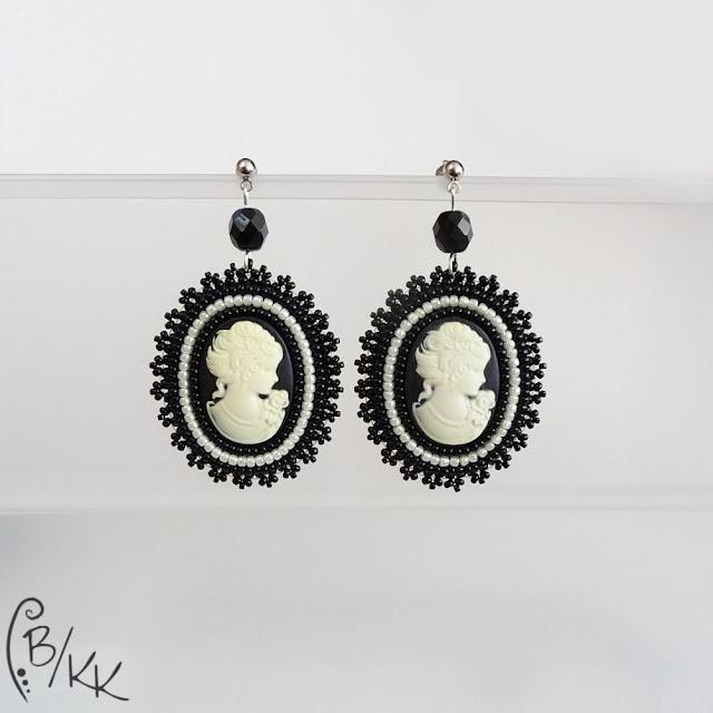 kolczyki z kameą haft koralikowy | bead embroidery cameo earrings