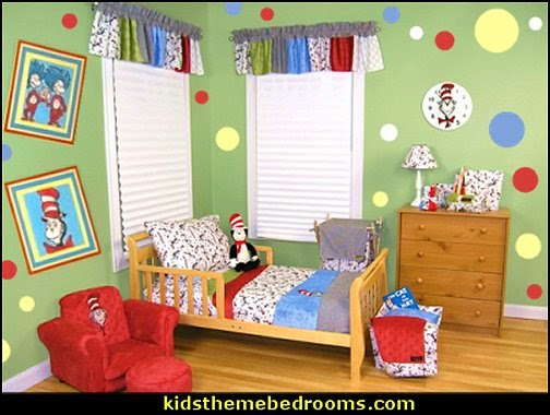 dr seuss theme playroom decorating ideas  Dr Seuss bedroom ideas - Dr.Suess bedroom decor - Dr Seuss Bedding - dr. seuss nursery  - decorating ideas  cat in the hat theme bedrooms -  Dr Seuss wall decal stickers - DR SEUSS wall mural decal - Dr. Suess playroom ideas - Dr. Seuss Plush Toys