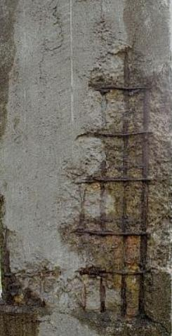Spalled and corroded concrete column required to be repaired