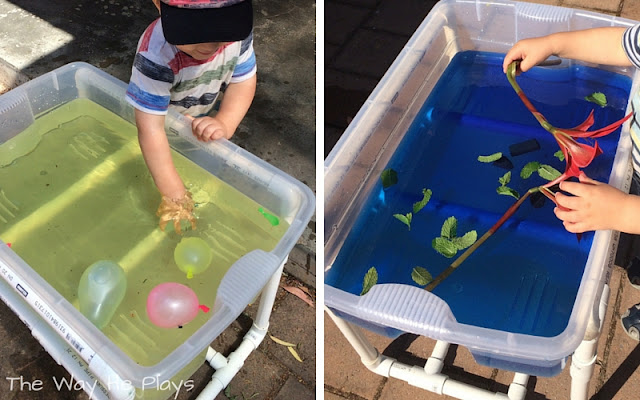 Water play in sensory table