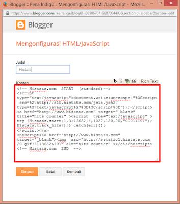 pasang kode html java script