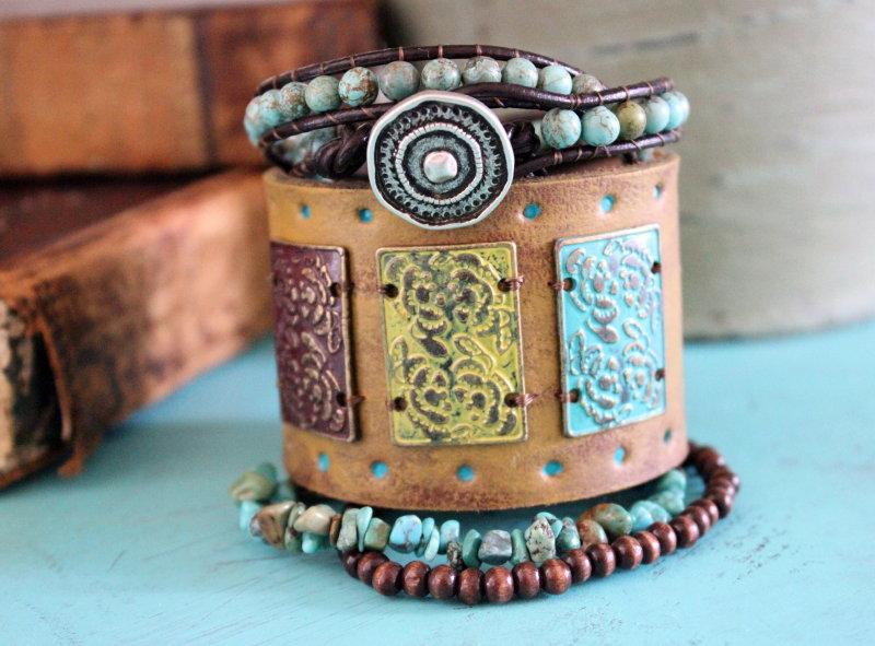 c276796ee90 Leather cuff upcycled mustard turquoise stacked bracelets boho bohemian  western beads stones