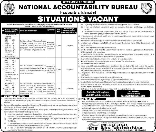 NAB Jobs in Islamabad