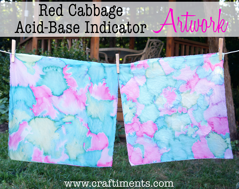 Craftiments: Red cabbage acid-base indicator artwork on fabric