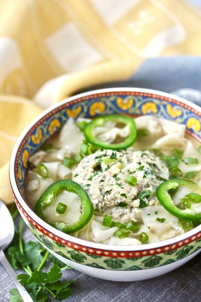 Shrimp and Pork Meatball Wonton Noodle Soup #wontonsoup