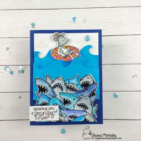 Wishing you a frenzy of fun by Diane features Shark Frenzy, Floaty Goat, Sea Borders, Cloudy Sky by Newton's Nook Designs; #newtonsnook