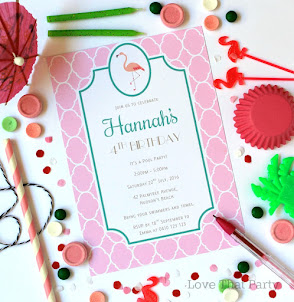 Preppy Flamingo Party Invitation