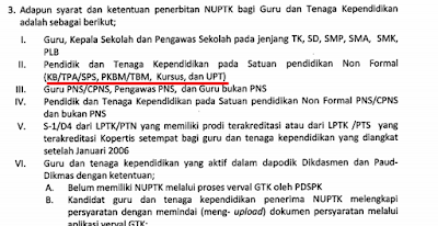 Syarat Penerbitan  NUPTK Baru Bagi Guru GTT/PTT/Guru PNS Formal non Formal 2016