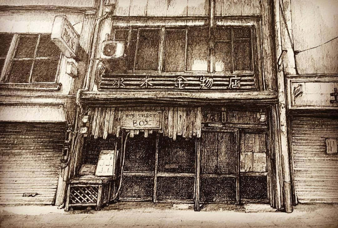 08-Traditional-Shop-Front-ibsuki-Urban-Architectural-Pen-Drawings-www-designstack-co
