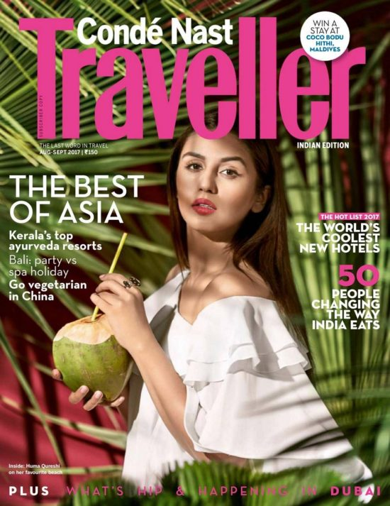 Huma Qureshi On The Cover of Condé Nast Traveller Magazine August - September 2017