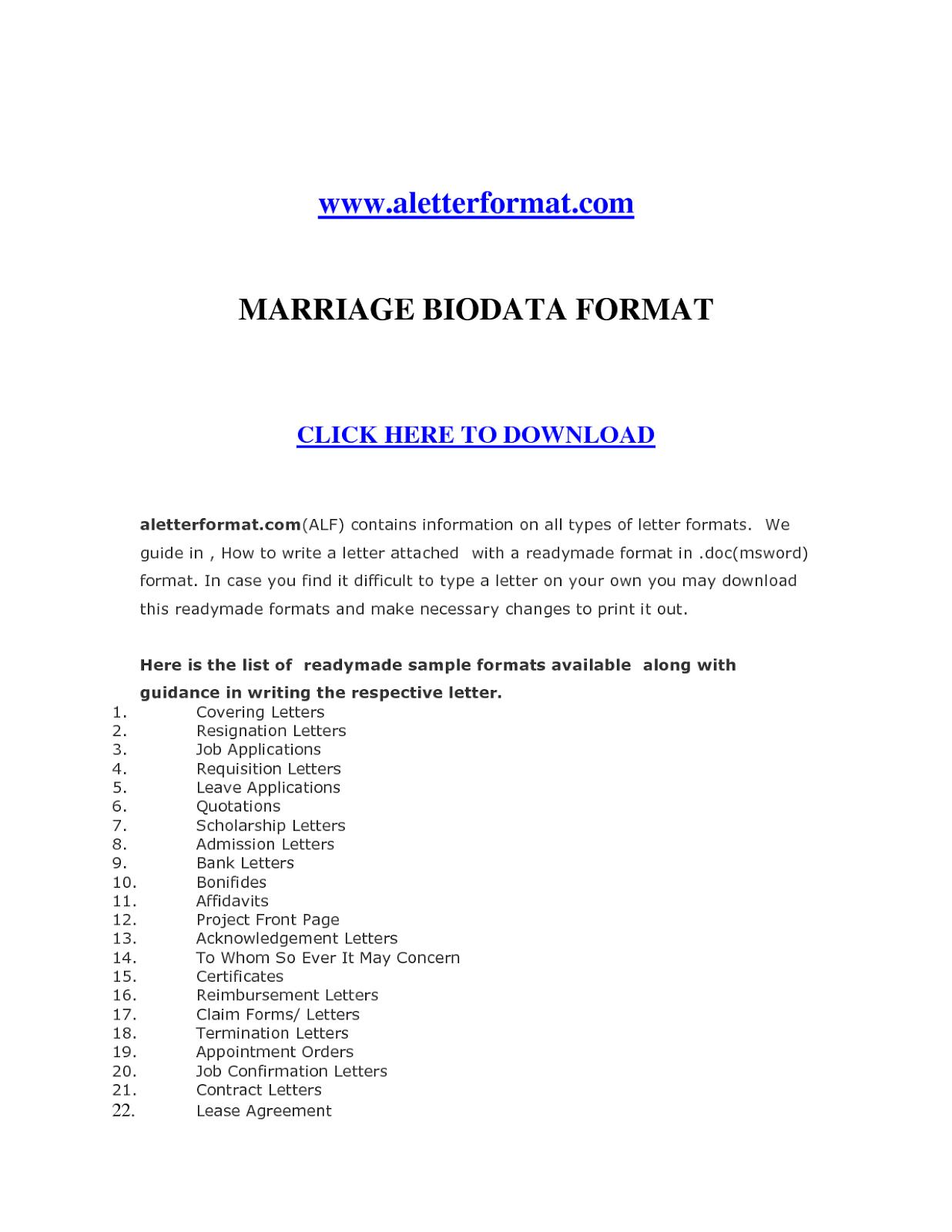 Biodata Format Download For Job Application Latter