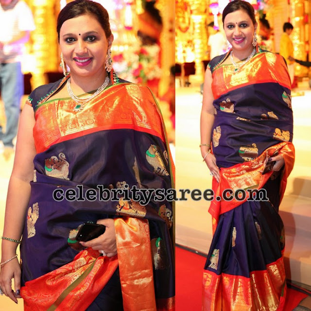 Navy Blue Orange Bridal Sari