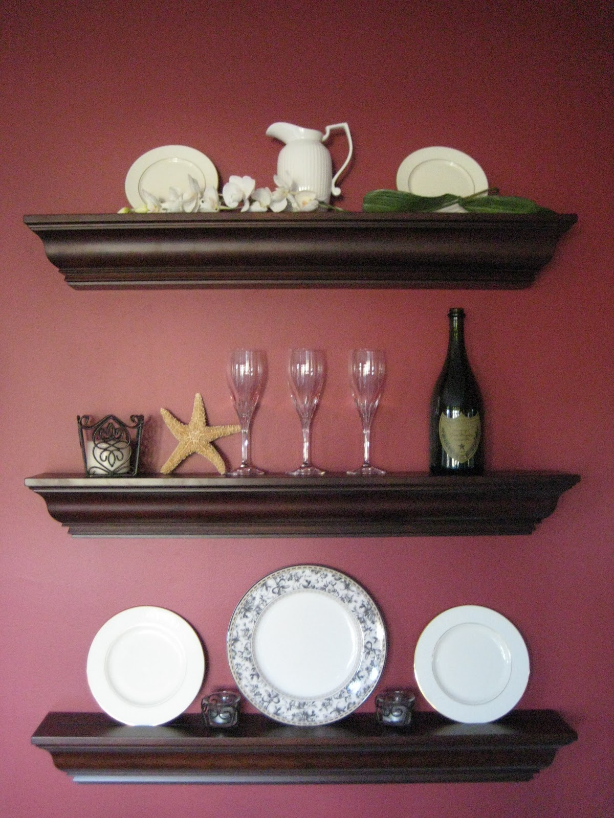 Wall Shelves in dining room