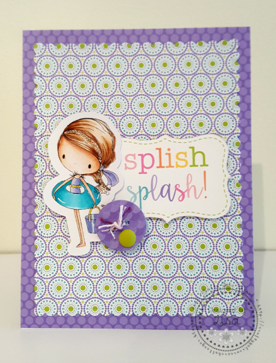 This is a picture of a purple and green Splish Splash summer card.