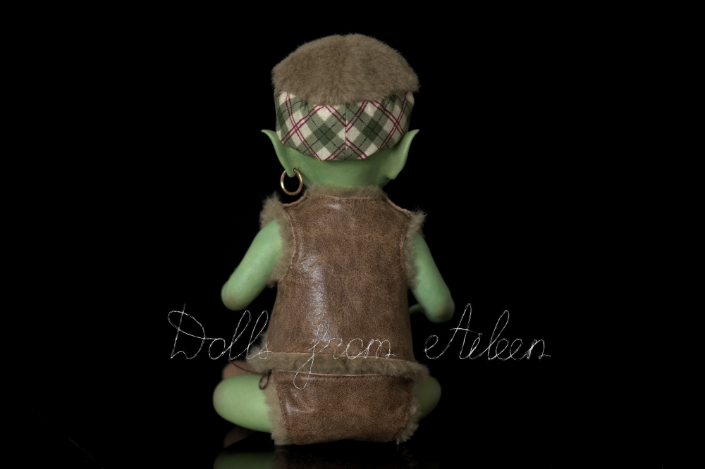 ooak artist baby orc doll, view from behind
