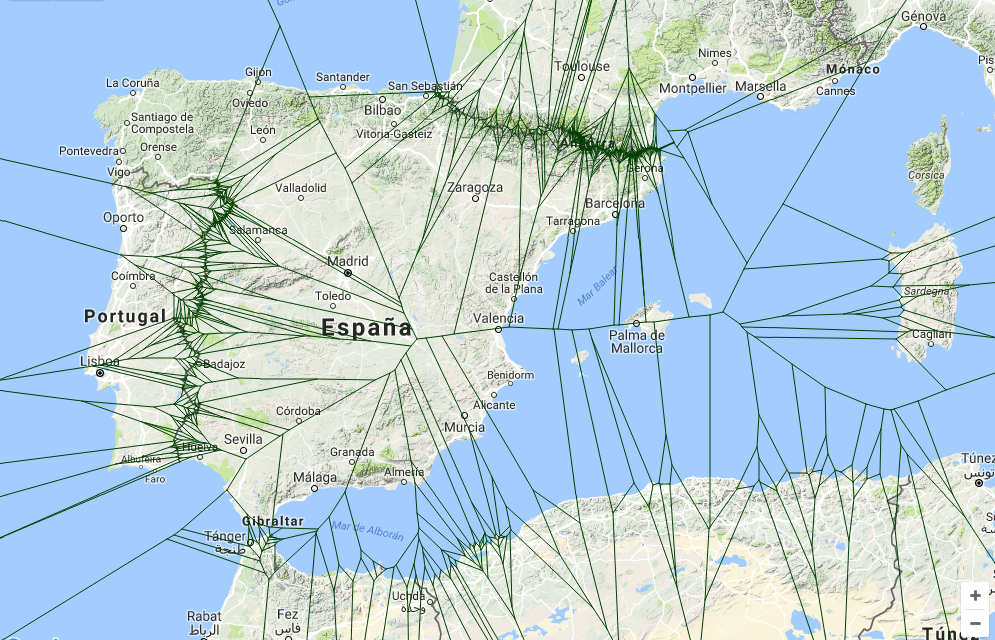 Voronoi fronteras de Epaña