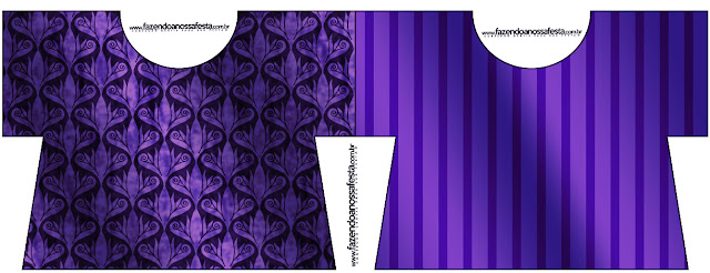Purple with Arabesques and Stripes: Free Printable Invitations.