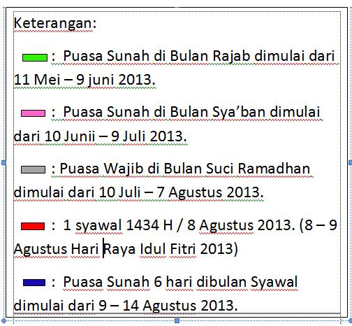 Jadwal Puasa Sunnah 2013M/1434H (Bulan Rajab dan Sya'ban ...