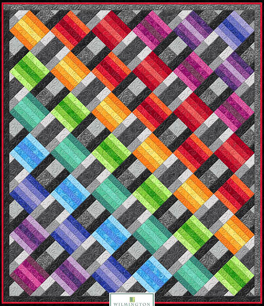 Wilm Essentials Rainbow Quilt Free Pattern designed by Wilmington Prints Fatquartershop