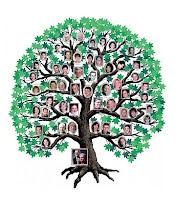 Bir soy ağacı üzerinde gösterilen akrabalık bağları