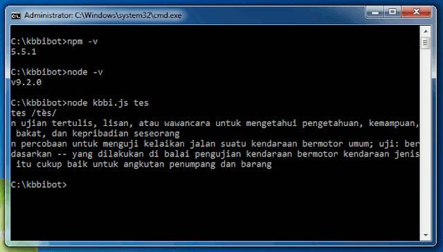 Jendela Command Prompt ketika menjalankan node, npm dan skrip nodejs