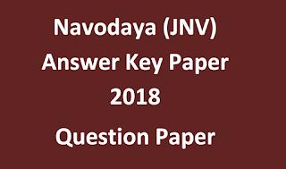 Navodaya (JNV) Answer Key Paper 2018 & Question Paper Eenadu, Sakshi Education