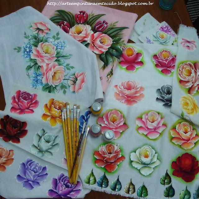 pintura em tecido como pintar rosas