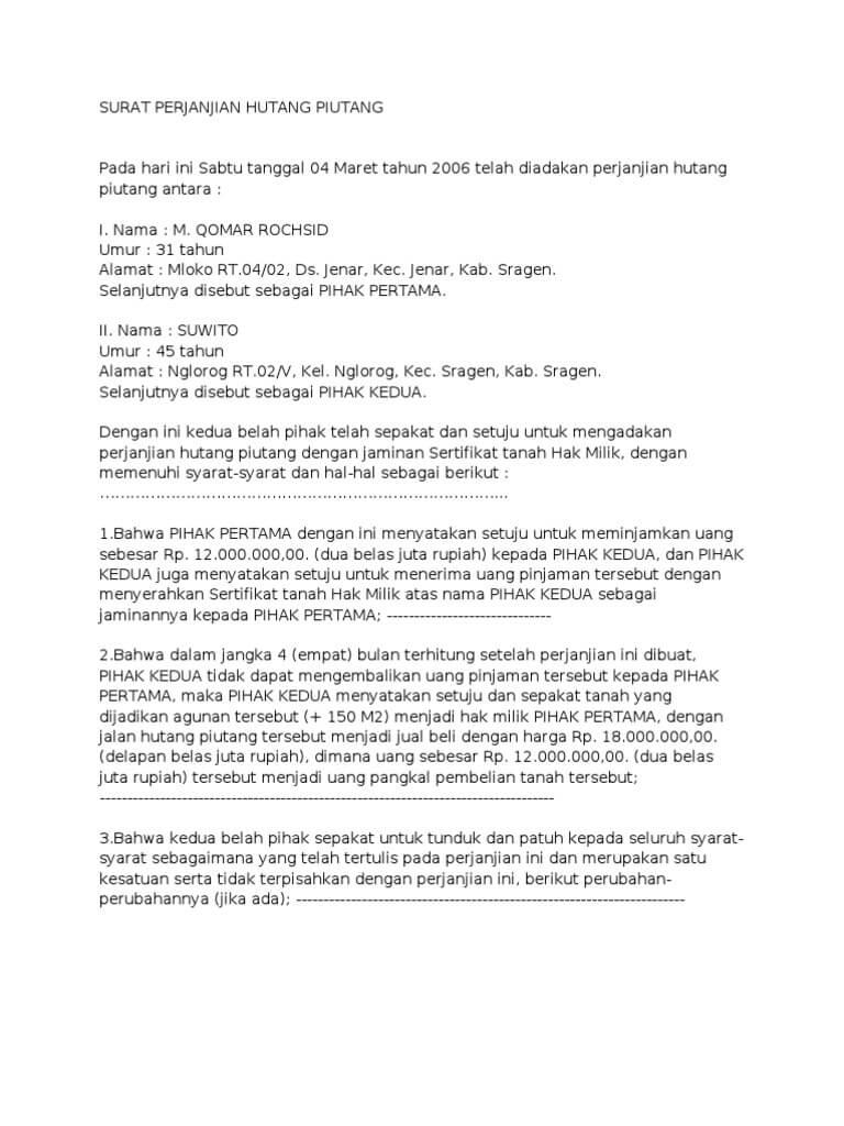 contoh surat perjanjian hutang piutang dengan jaminan sertifikat tanah