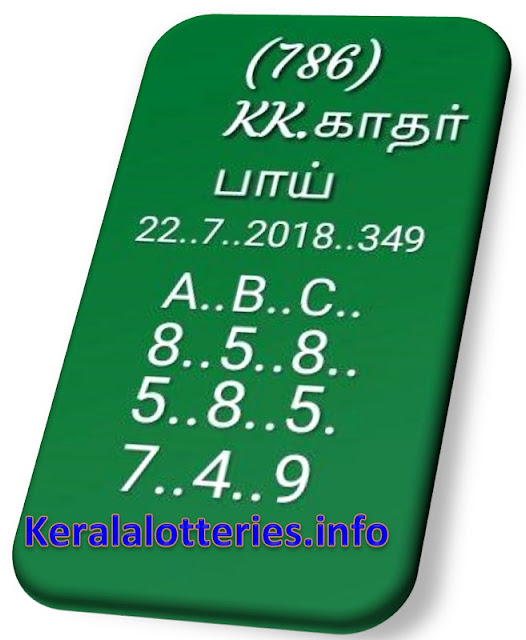 KK Kerala Lottery abc all board Guessing  Pournami RN-348 22-07-2018
