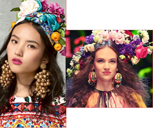 Belleza, colorido, de pendientes primaverales