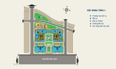 Mặt bằng tầng 1 Nhà ở xã hội: Căn hộ trả góp HQC Plaza tại TPHCM
