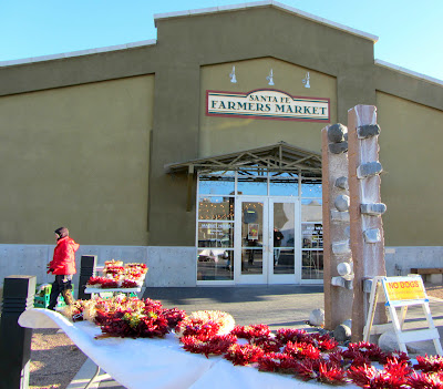 Red Chile Peppers outside the door to the Santa Fe Farmers Market
